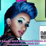"Cardi B Leads 2019 Billboard Music Awards Nominations With 21 Cardi B leads all nominees at the 2019 Billboard Music Awards. The ""I Like It"" rapper is nominated 21 times in 18 categories -- just missing the record for most nominations set by Drake and The Chainsmokers, who each had 22 in 2017. Cardi will compete against herself in three categories -- top Hot 100 song, top selling song, and top collaboration. Following Cardi B, Drake and Post Malone each have 17 nominations. Travis Scott is up for 12 awards, and XXXTentacion is up for 10. Billboard Music Awards 2019 Tickets May1st 8PM Live NBC Among the other nominees are Lady Gaga and Bradley Cooper -- who are up for the chart achievement award, top soundtrack for A Star Is Born, and top selling song for ""Shallow."" Gaga is up separately for top song sales artist. For this year's ceremony, there are two fan-voted categories -- top social artist, and chart achievement. Kelly Clarkson hosts the 2019 Billboard Music Awards from the MGM Garden Arena in Las Vegas on May 1. The show will air live at 8PM ET on NBC. See the full list of nominees below. ARTIST AWARDS Top Artist: Cardi B Drake Ariana Grande Post Malone Travis Scott Top New Artist: Bazzi Juice Wrld Lil Baby Dua Lipa Ella Mai Billboard Chart Achievement Award: Dan + Shay Drake Ariana Grande Lady Gaga & Bradley Cooper Dua Lipa Top Male Artist: Drake Post Malone Travis Scott Ed Sheeran XXXTentacion Top Female Artist: Cardi B Ariana Grande Halsey Ella Mai Taylor Swift Top Duo/Group: BTS Dan + Shay Imagine Dragons Maroon 5 Panic! At The Disco Top Billboard 200 Artist: Drake Ariana Grande Post Malone Travis Scott XXXTentacion Top Hot 100 Artist: Cardi B Drake Ariana Grande Juice Wrld Post Malone Top Streaming Songs Artist: Cardi B Drake Ariana Grande Post Malone XXXTentacion Top Song Sales Artist: Drake Ariana Grande Imagine Dragons Lady Gaga Post Malone Top Radio Songs Artist: Cardi B Drake Ariana Grande Maroon 5 Post Malone Top Social Artist: BTS EXO GOT7 Ariana Grande Louis Tomlinson Top Touring Artist: Beyoncé & JAY-Z Bruno Mars Ed Sheeran Taylor Swift Justin Timberlake Top R&B Artist: H.E.R. Khalid Ella Mai The Weeknd XXXTentacion Top R&B Male Artist: Khalid The Weeknd XXXTentacion Top R&B Female Artist: H.E.R. Ella Mai Queen Naija Top R&B Tour: Beyoncé & JAY-Z Childish Gambino Bruno Mars Top Rap Artist: Cardi B Drake Juice Wrld Post Malone Travis Scott Top Rap Male Artist: Drake Post Malone Travis Scott Top Rap Female Artist: Cardi B City Girls Nicki Minaj Top Rap Tour: Beyoncé & JAY-Z Drake Travis Scott Top Country Artist: Jason Aldean Kane Brown Luke Combs Dan + Shay Florida Georgia Line Top Country Male Artist: Jason Aldean Kane Brown Luke Combs Top Country Female Artist: Maren Morris Kacey Musgraves Carrie Underwood Top Country Duo/Group: Dan + Shay Florida Georgia Line Old Dominion Top Country Tour: Luke Bryan Kenny Chesney Shania Twain Top Rock Artist: Imagine Dragons Lovelytheband Panic! At The Disco Queen Twenty One Pilots Top Rock Tour: Elton John The Rolling Stones U2 Top Latin Artist: Anuel AA Bad Bunny J Balvin Ozuna Romeo Santos Top Dance/Electronic Artist: Calvin Harris Kygo Marshmello Odesza The Chainsmokers Top Christian Artist: Cory Asbury Lauren Daigle For King & Country Hillsong Worship MercyMe Top Gospel Artist: Kirk Franklin Koryn Hawthorne Tori Kelly Tasha Cobbs Leonard Marvin Sapp ALBUM AWARDS Top Billboard 200 Album: Cardi B ""Invasion of Privacy"" Drake ""Scorpion"" Post Malone ""beerbongs & bentleys"" Travis Scott ""ASTROWORLD"" XXXTentacion ""?"" Top Soundtrack: ""13 Reasons Why: Season 2"" ""A Star is Born"" by Lady Gaga & Bradley Cooper ""Bohemian Rhapsody"" by Queen ""Spider-Man: Into the Spider-Verse"" ""The Greatest Showman"" Top R&B Album: Ella Mai ""Ella Mai"" H.E.R. ""H.E.R."" Khalid ""American Teen"" The Weeknd ""My Dear Melancholy,"" XXXTentacion ""17"" Top Rap Album: Cardi B ""Invasion of Privacy"" Drake ""Scorpion"" Post Malone ""beerbongs & bentleys"" Travis Scott ""ASTROWORLD"" XXXTentacion ""?"" Top Country Album: Jason Aldean ""Rearview Town"" Kane Brown ""Kane Brown"" Luke Combs ""This One's For You"" Dan + Shay ""Dan + Shay"" Carrie Underwood ""Cry Pretty"" Top Rock Album: Dave Matthews Band ""Come Tomorrow"" Imagine Dragons ""Origins"" Mumford & Sons ""Delta"" Panic! At This Disco ""Pray For The Wicked"" Twenty One Pilots ""Trench"" Top Latin Album: Anuel AA ""Real Hasta la Muerte"" Bad Bunny ""X 100PRE"" J Balvin ""Vibras"" Maluma ""F.A.M.E."" Ozuna ""Aura"" Top Dance/Electronic Album: Clean Bandit ""What Is Love?"" David Guetta ""7"" Kygo ""Kids in Love"" Major Lazer ""Major Lazer Essentials"" The Chainsmokers ""Sick Boy"" Top Christian Album: Cory Asbury ""Reckless Love"" Lauren Daigle ""Look Up Child"" For King & Country ""Burn The Ships"" Hillsong Worship ""There Is More"" Zach Williams ""Chain Breaker"" Top Gospel Album: Snoop Dogg & Various Artists ""Snoop Dogg Presents Bible of Love"" Aretha Franklin ""Gospel Greats"" Koryn Hawthorne ""Unstoppable"" Tori Kelly ""Hiding Place"" Jonathan McReynolds ""Make Room"" SONG AWARDS Top Hot 100 Song: Cardi B, Bad Bunny & J Balvin ""I Like It"" Juice Wrld ""Lucid Dreams"" Maroon 5 ft. Cardi B ""Girls Like You"" Post Malone ""Better Now"" Travis Scott ""SICKO MODE"" Top Streaming Song (Audio): Cardi B, Bad Bunny & J Balvin ""I Like It"" Juice Wrld ""Lucid Dreams"" Post Malone ""Better Now"" Travis Scott ""SICKO MODE"" XXXTentacion ""SAD!"" Top Streaming Song (Video): Drake ""In My Feelings"" Juice Wrld ""Lucid Dreams"" Maroon 5 ft. Cardi B ""Girls Like You"" Travis Scott ""SICKO MODE"" XXXTentacion ""SAD!"" Top Selling Song: Cardi B, Bad Bunny & J Balvin ""I Like It"" Drake ""In My Feelings"" Halsey ""Without Me"" Lady Gaga & Bradley Cooper ""Shallow"" Maroon 5 ft. Cardi B ""Girls Like You"" Top Radio Song: Khalid & Normani ""Love Lies"" Maroon 5 ft. Cardi B ""Girls Like You"" Post Malone ""Better Now"" Bebe Rexha & Florida Georgia Line ""Meant to Be"" Zedd, Maren Morris & Grey ""The Middle"" Top Collaboration: Cardi B, Bad Bunny & J Balvin ""I Like It"" Khalid & Normani ""Love Lies"" Maroon 5 ft. Cardi B ""Girls Like You"" Marshmello & Bastille ""Happier"" Post Malone ft. Ty Dolla $ign ""Psycho"" Top R&B Song: DJ Khaled ft. Justin Bieber, Chance The Rapper & Quavo ""No Brainer"" Ella Mai ""Boo'd Up"" Ella Mai ""Trip"" Khalid ""Better"" Lil Dicky ft. Chris Brown ""Freaky Friday"" Top Rap Song: Cardi B, Bad Bunny & J Balvin ""I Like It"" Drake ""In My Feelings"" Juice Wrld ""Lucid Dreams"" Post Malone ""Better Now"" Travis Scott ""SICKO MODE"" Top Country Song: Kane Brown ""Heaven"" Luke Combs ""She Got the Best of Me"" Dan + Shay ""Speechless"" Dan + Shay ""Tequila"" Bebe Rexha & Florida Georgia Line ""Meant to Be"" Top Rock Song: Foster The People ""Sit Next to Me"" Imagine Dragons ""Natural"" Imagine Dragons ""Whatever It Takes"" Lovelytheband ""broken"" Panic! At The Disco ""High Hopes"" Top Latin Song: Bad Bunny ft. Drake ""Mia"" Daddy Yankee ""Dura"" DJ Snake ft. Selena Gomez, Ozuna & Cardi B ""Taki Taki"" Nicky Jam & J Balvin ""X"" Casper Magico, Nio Garcia, Darell, Nicky Jam, Bad Bunny & Ozuna ""Te Bote"" Top Dance/Electronic Song: DJ Snake ft. Selena Gomez, Ozuna & Cardi B ""Taki Taki"" Calvin Harris & Dua Lipa ""One Kiss"" Marshmello & Bastille ""Happier"" Tiësto & Dzeko ft. Preme & Post Malone ""Jackie Chan"" Zedd, Maren Morris & Grey ""The Middle"" Top Christian Song: Cory Asbury ""Reckless Love"" Lauren Daigle ""You Say"" For King & Country ""joy."" Hillsong Worship ""Who You Say I Am"" Tauren Wells ""Known"" Top Gospel Song: Todd Dulaney ""Your Great Name"" Koryn Hawthorne ""Won't He Do It"" Tori Kelly ft. Kirk Franklin ""Never Alone"" Jason Nelson ""Forever"" Brian Courtney Wilson ""A Great Work"" The Billboard Music Awards, a subsidiary division of the iconic Billboard brand, honors some of the hottest names in music today. Billboard Music Awards finalists are based on key fan interactions with music, including album and digital singles sales, radio airplay, touring, streaming and social interactions on Facebook, Twitter, YouTube, VEVO, Spotify and other popular online destinations for music. These measurements are tracked year-round by Billboard and its data partners, including Nielsen Entertainment and Next Big Sound. Get more BBMAs: BBMAs Twitter: https://twitter.com/BBMAs BBMAs Facebook: https://www.facebook.com/TheBBMAs BBMAs Instagram: https://instagram.com/BBMAs BBMAs YouTube Channel: https://www.youtube.com/BBMAs @RAWDOGGTV (#Google Partner #BET Premier #MEDIA Partner) #VIDEOMARKETING #Music #TVSHOW #Artist #Filmprops ☎ (305) 490-2182 #DEALMAKERrawdoggtv.com"
